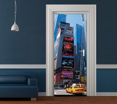 New York Bright Lights Door Wallpaper Mural