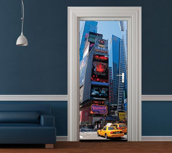 new york bright lights door wallpaper mural wallpaper. Black Bedroom Furniture Sets. Home Design Ideas