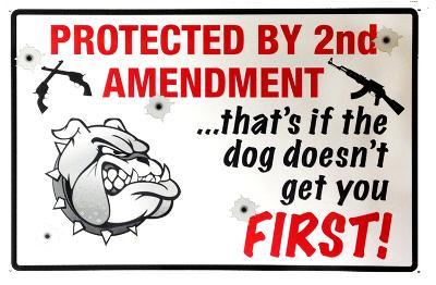 2nd Amendment Dog Tin Sign