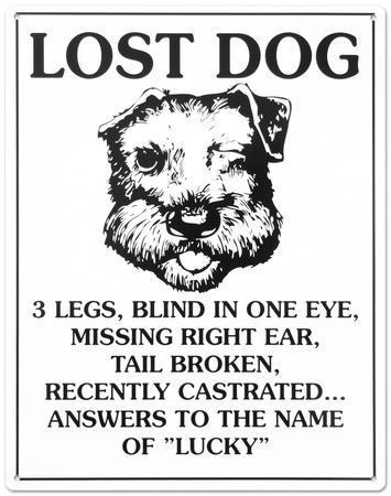 Lost Dog Tin Sign
