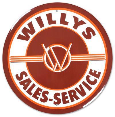 Willys Round Tin Sign