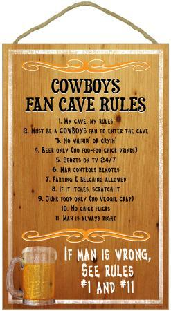 Cowboys Fan Cave Rules Wood Sign