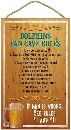 Dolphins Fan Cave Rules Wood Sign