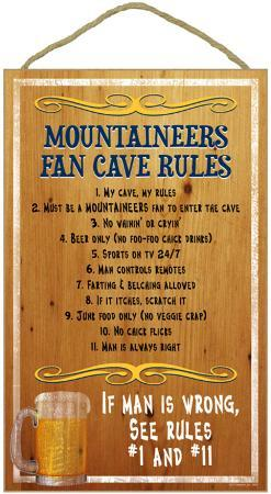 Mountaineers Fan Cave Rules Wood Sign