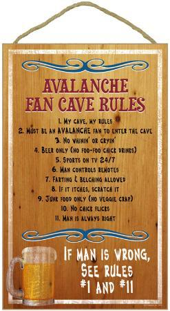 Avalanche Fan Cave Rules Wood Sign