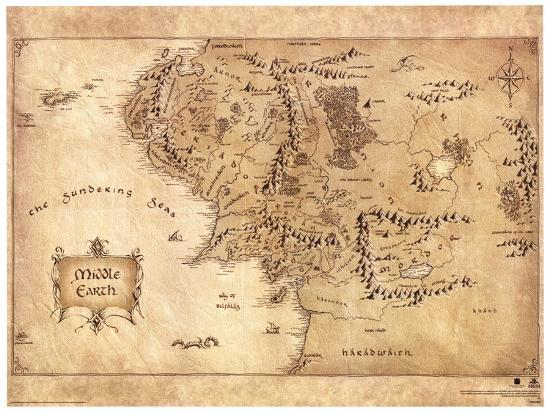 The Hobbit   Middle Earth Map Movie Poster Masterprint at