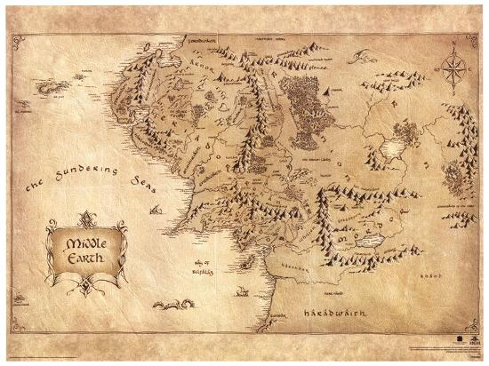 The Hobbit - Middle Earth Map Movie Poster Masterprint at AllPosters.com