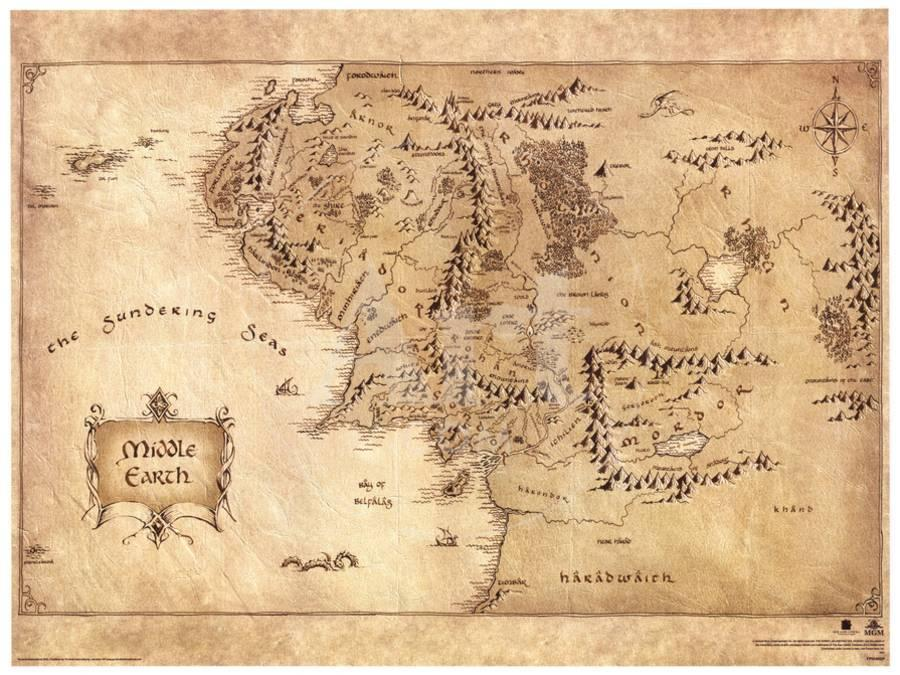 The Hobbit Middle Earth Map Movie Poster Masterprint At Allposters Com