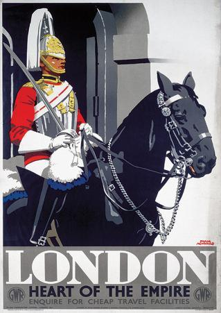 London, England (Guard on Horse) Vintage Style Travel Poster