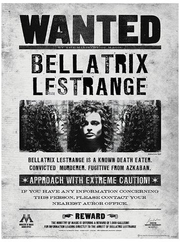picture regarding Harry Potter Wanted Poster Printable titled Harry Potter (Bellatrix Sought after) Video clip Poster