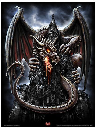 Spiral Dragon Lava Fantasy Poster Masterprint At