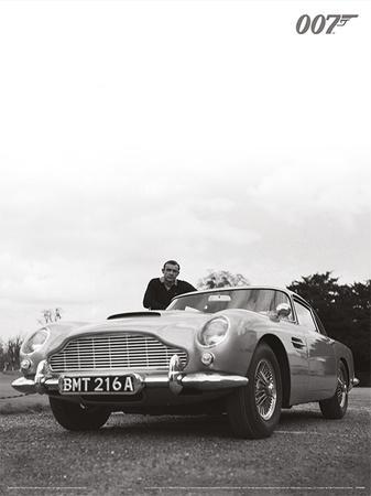 James Bond (Connery B+W) Movie Poster Print