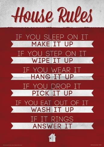 House Rules Funny Poster Masterprint At Allposters Com