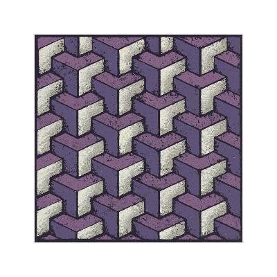 Three Part Tumbling Blocks (Purple)
