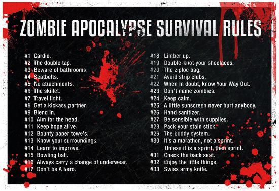 Zombie Apocalypse Survival Rules Posters At Allposters Com