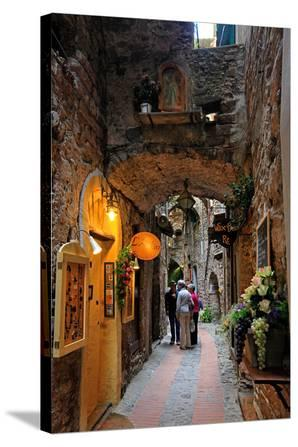 Alley in the Old Town with Flower Arrangements on occasion of the Flower Festival in Dolceacqua