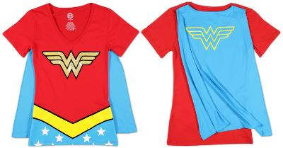 Juniors: Wonder Woman - V-Neck Costume Tee with Cape