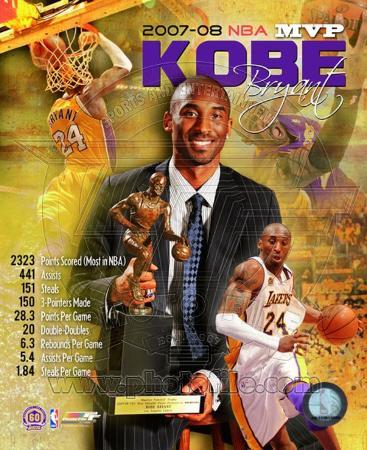 Kobe Bryant 2008 MVP Portrait Plus; LA Lakers