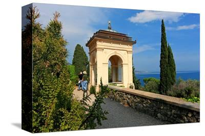 Pavilion with View of the Sea at Hanbury Botanic Gardens near Ventimiglia, Italy