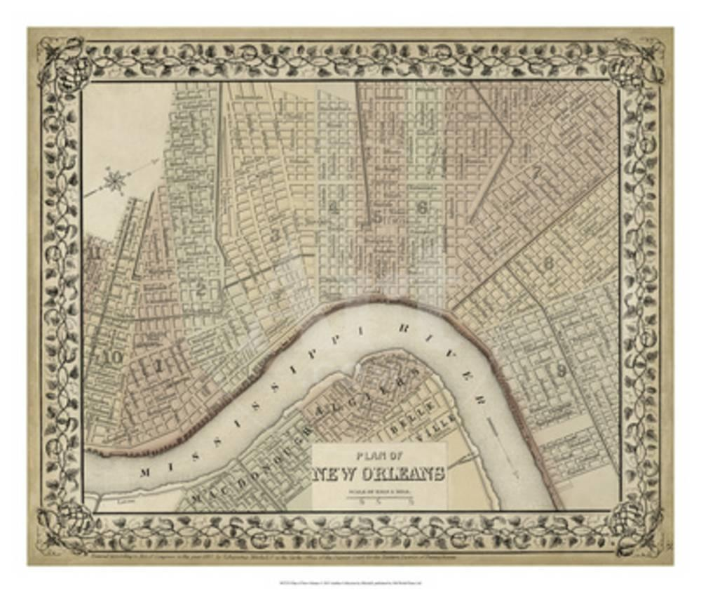 plan of new orleans giclee print by mitchell at. Black Bedroom Furniture Sets. Home Design Ideas