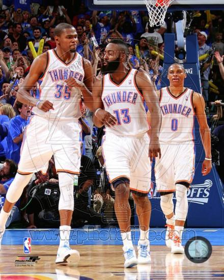 c82a875c Oklahoma City Thunder - Russell Westbrook, James Harden, Kevin Durant Photo  Photo at AllPosters.com