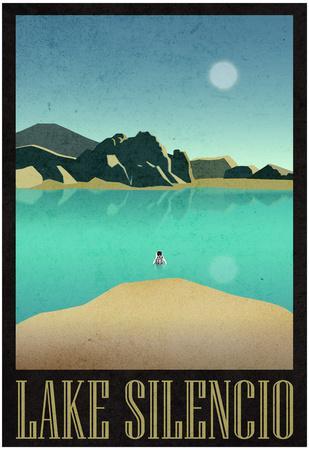 Lake Silencio Retro Travel Poster