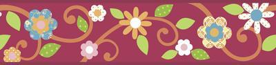 Scroll Floral Peel & Stick Border Wall Decal - Magenta/Orange