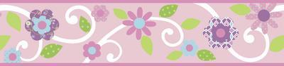Scroll Floral Peel & Stick Border Wall Decal - Pink/White
