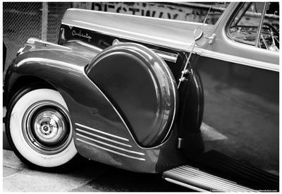 Antique Car With Whitewall Tires B/W
