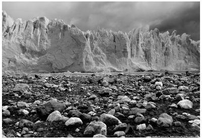 Rocky Glacier Beach Patagonia Argentina B/W