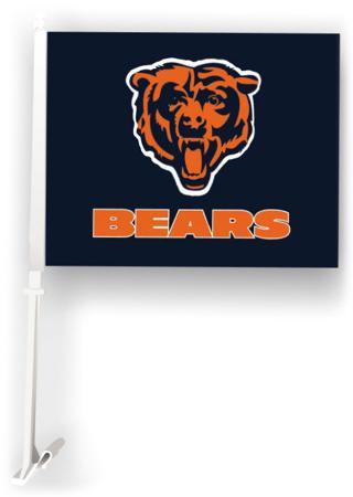 NFL Chicago Bears Car Flag with Wall Brackett