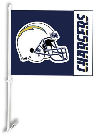 NFL San Diego Chargers Car Flag with Wall Brackett