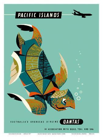 Pacific Islands - Qantas Airways - Green Sea Turtle