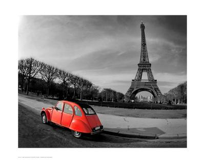 Red in Motion by the Eiffel Tower