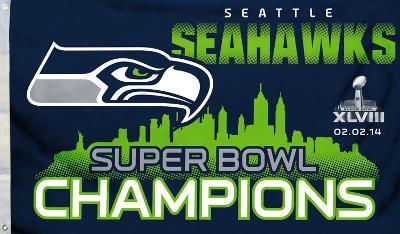 Super Bowl XLVIII Champion Seattle Seahawks Flag