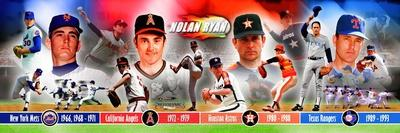 Nolan Ryan 4 Team Panoramic Photo