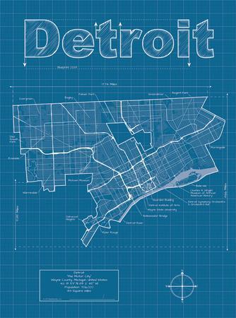 Detroit Artistic Blueprint Map