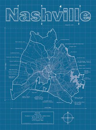 Nashville Artistic Blueprint Map