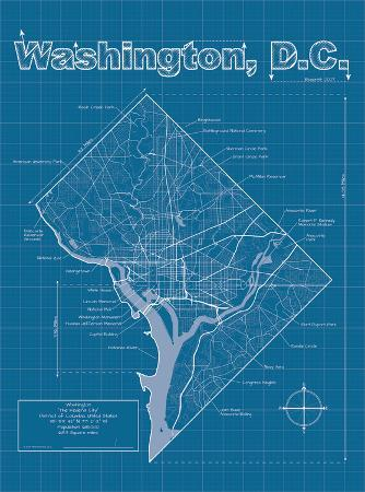 Washington DC Artistic Blueprint Map