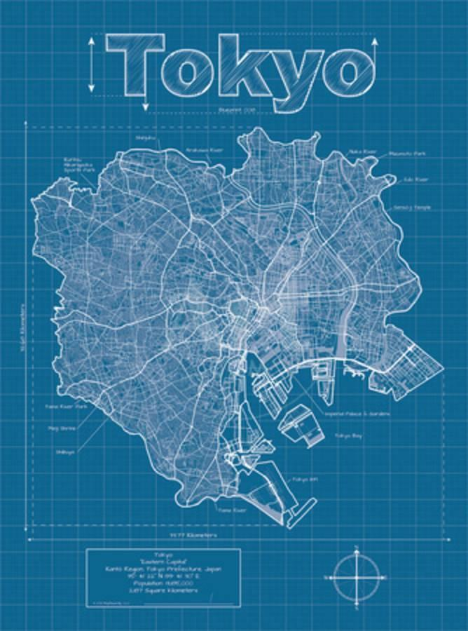 Tokyo artistic blueprint map posters by christopher estes at 1 of 2 malvernweather Images