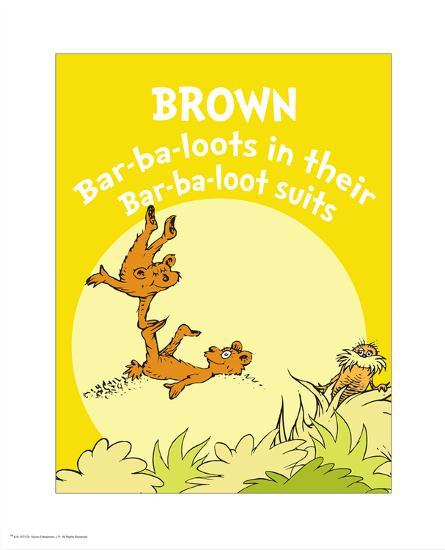 Brown Barbaloots (yellow) Print by Theodor (Dr. Seuss) Geisel at ...