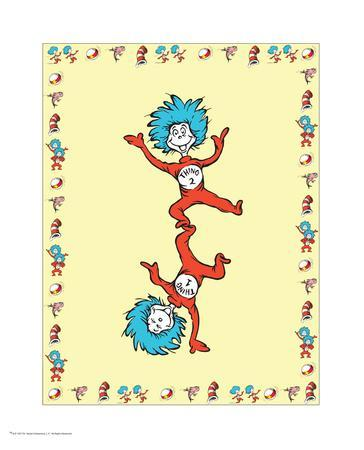 Cat in Hat Yellow Border Collection II - Thing 1 & Thing 2 (yellow bordered)