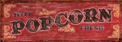 Hot Fresh Popcorn Vintage Wood Sign