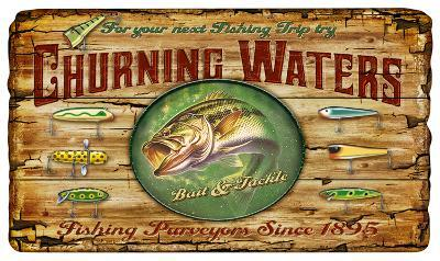 Churning Waters Bait and Tackle Fishing Vintage Wood Sign