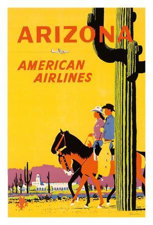 Arizona - American Airlines - Riders on Horseback - Saguaro Cactus, State Flower of Arizona