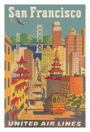 San Francisco, California - United Air Lines - Cable Car in Chinatown