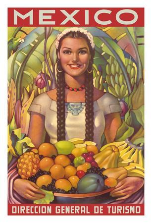 Mexico - Senorita with Fruit Bowl - Direccion General de Turismo (Department of Tourism)