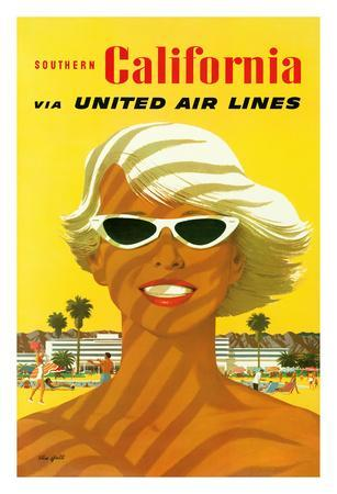 Southern California - United Air Lines - Sun Tanned Bleached Blonde in Sunglasses
