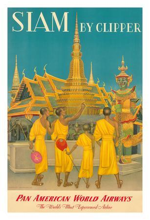 Thailand by Clipper - Pan American World Airways - Monks at Wat Phra Kaeo, Temple of Emerald Buddha