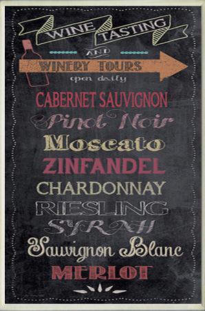 Wine Tasting Typography Chalkboard Look Kitchen Wall Plaque